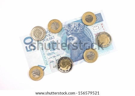 Money - polish currency 50 zloty banknote and coins