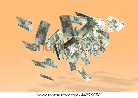Money - Polish Zlotys in the 100zl denomination. - stock photo