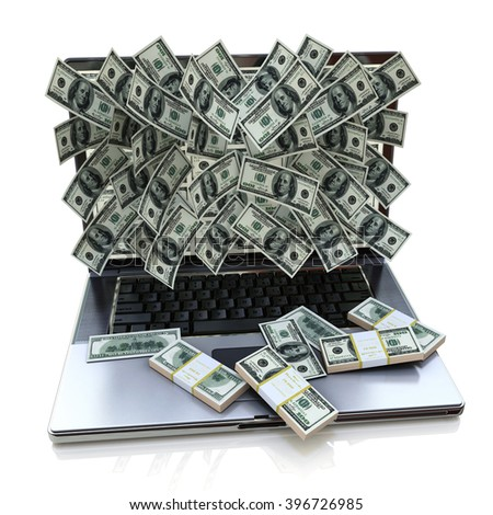 Money pouring out from laptop - 3D rendered illustration