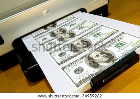 Money Printed on a Desktop Home Printer. - stock photo