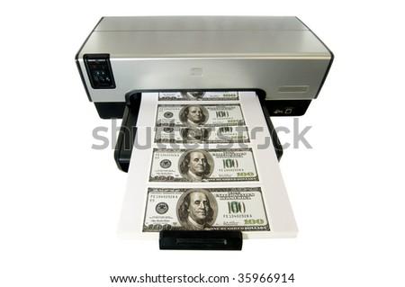 Money Printed on a Desktop Home Printer. - stock photo