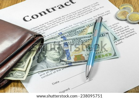 money purse business contract pen signature dollars - stock photo