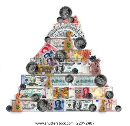 Money pyramid contain different currencies. Banknotes and coins. - stock photo