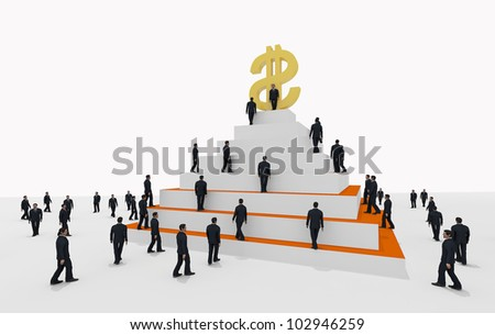 money pyramid with business people - stock photo