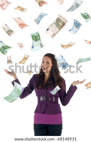 Money rain (euro banknotes) - stock photo