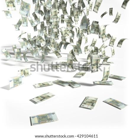 Money rain of fifty rubles bills 3D rendering - stock photo