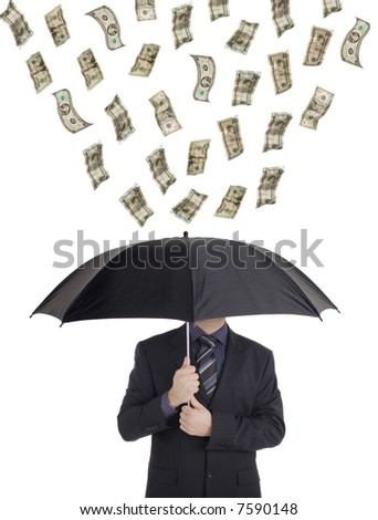 Money raining down on a person with an umbrella