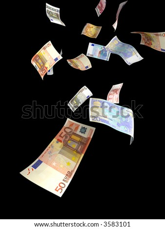 money raining from the sky. it's several euro bills isolated on black - stock photo
