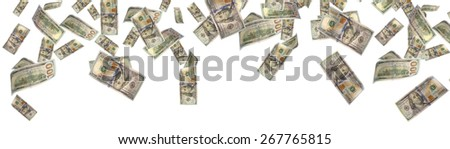 money raining from the sky. it's several euro bills isolated on white - stock photo