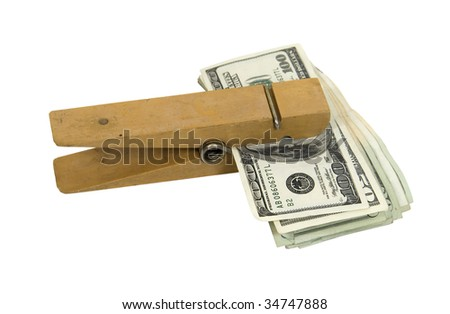 Money reminder in the form of a wooden paperclip used to hold pages or other media together with large bills of money - path included