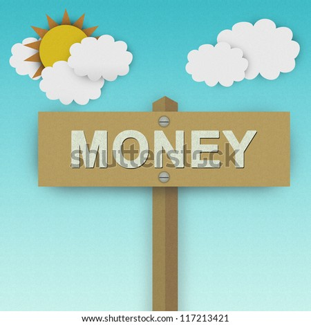 Money Road Sign For Business Solution Concept Made From Recycle Paper With Beautiful Sun and White Cloud in Blue Sky Background - stock photo