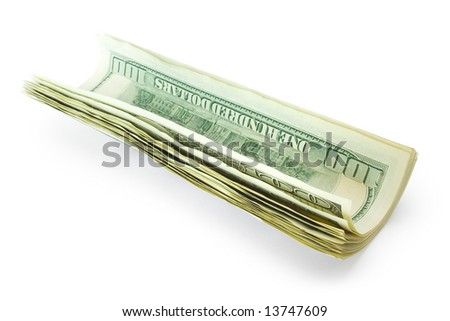 money roll isolated on white background