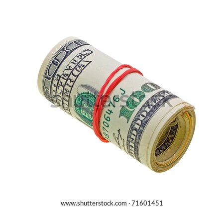 Money roll with US dollars bills isolated on white background