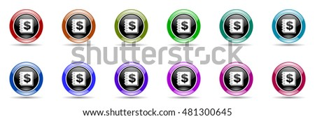 money round glossy colorful web icon set