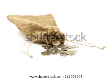 Money sack brown on white - stock photo