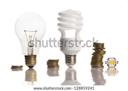 money saved in different types of light bulbs - stock photo