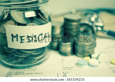 money saving for medical  in the glass bottle for money concept