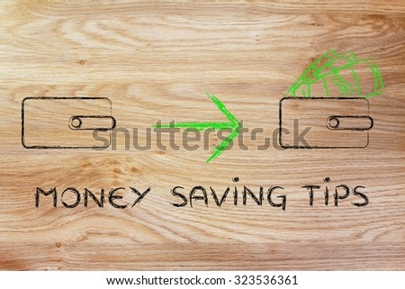 money saving tips: illustration with closed wallet going from empty to full of dollars - stock photo