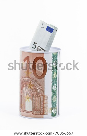 Money savings bank, box wrapped with euro