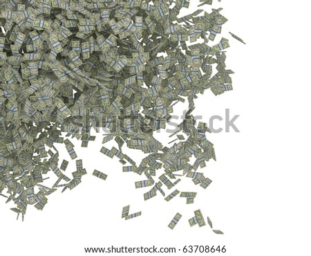 Money scattering. US dollar bundles falling down. Isolated over white