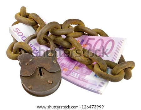 money security concept - euro banknotes under lock and key - stock photo