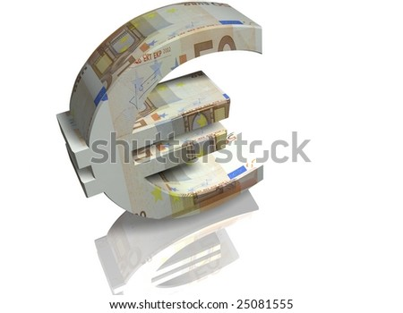 Money sign of euro on a white background