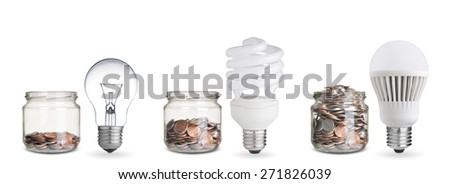 money spent with different light bulbs.Isolated on white - stock photo