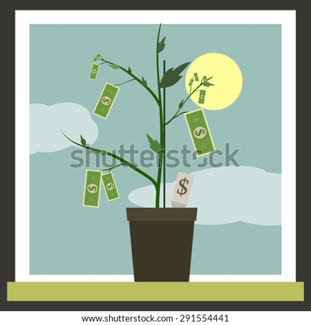 Money Sprouting - dollar bills sprouting from stems. - stock photo