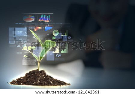 Money Sprouting - finance and money symbols sprouting from stems - stock photo