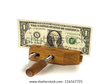 Money squeezed concept - stock photo