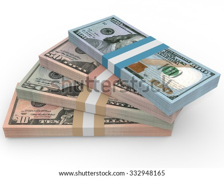 Money stack. Different dollar bank notes.3D illustration.
