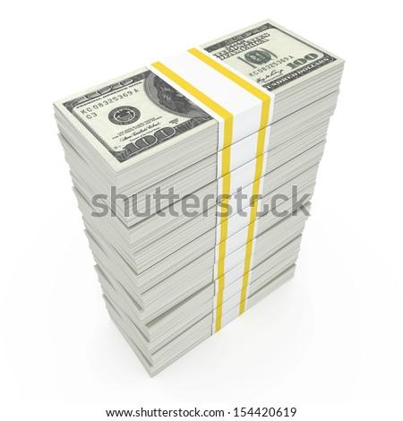 Money Stack - Isolated on White Background  - stock photo