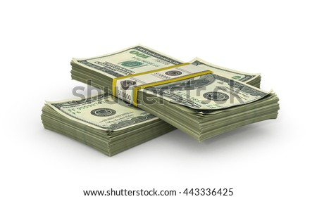 Money Stack - Isolated on White Background. 3d illustration - stock photo