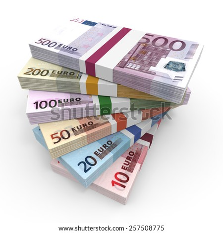 Money stacks. Euro bank notes. 3D illustration. - stock photo