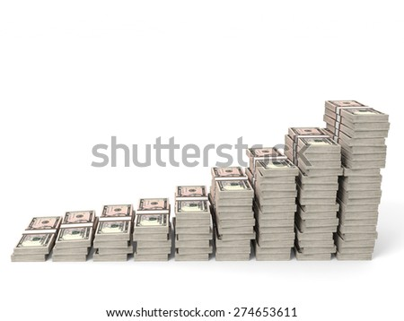 Money stacks graph. Five dollars. 3D illustration. - stock photo