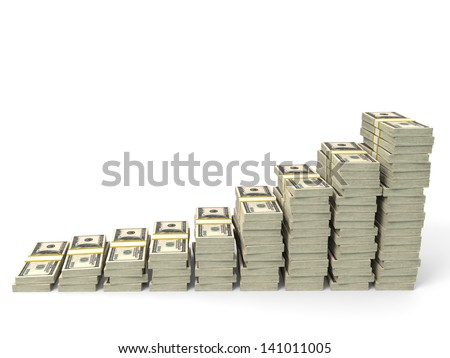 Money stacks graph. One hundred dollars. 3D illustration. - stock photo