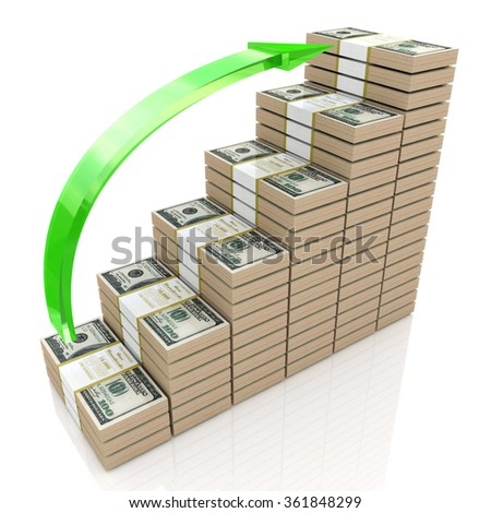 Money stacks graph. One hundred dollars with the design of information related to business and economy - stock photo