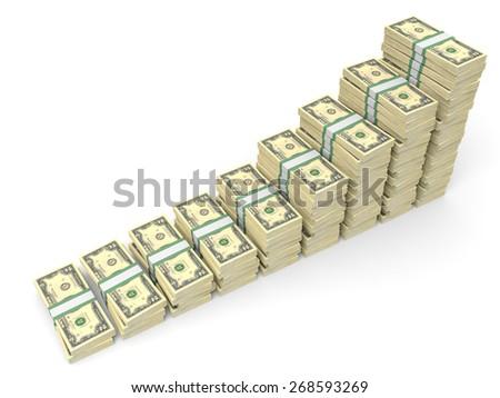 Money stacks graph. Two dollars. 3D illustration. - stock photo