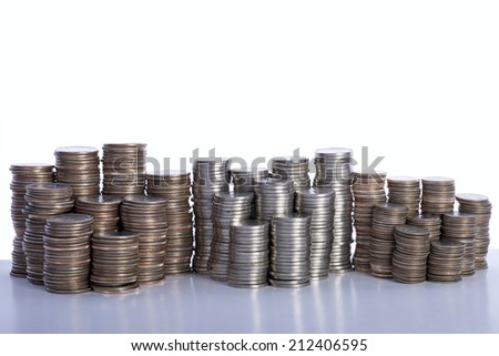 Money, stacks of coins. Quarters, Nickels and Dimes - stock photo