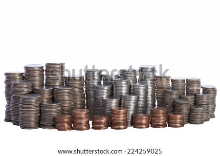 Money, stacks of coins. Quarters, Nickels, Dimes and Pennies - stock photo