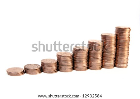 Money stairs isolated on white. - stock photo