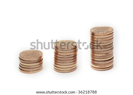Money stairs isolated on white - stock photo