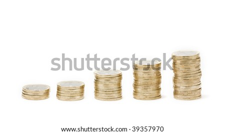 Money stairs isolated on white