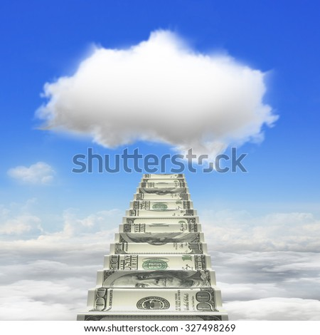 Money stairs toward white cloud in blue sky cloudscape background. - stock photo