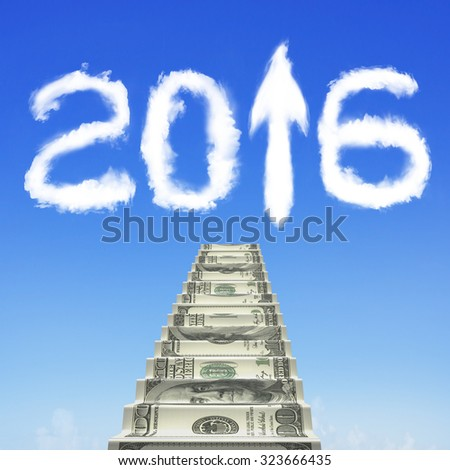 Money stairs with white 2016 arrow up shape clouds in blue sky. - stock photo