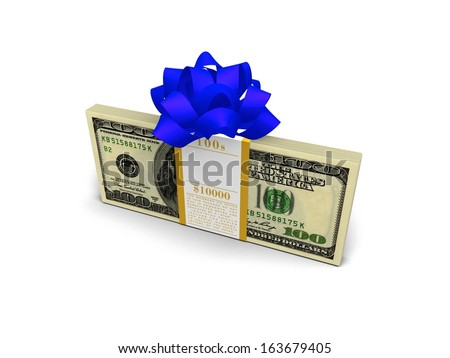 Money Stocking Stuffers. Stack of a crisp $10,000 cash with a beautiful bow, making any day a fun holiday spent joyfully spending.