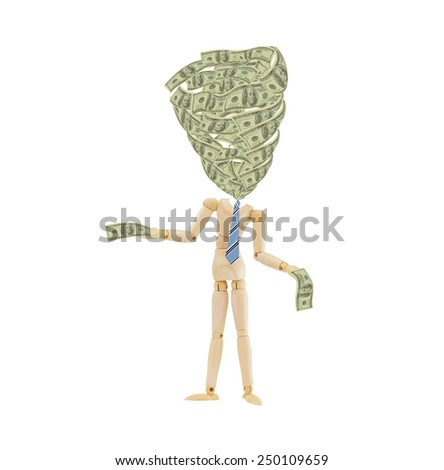 Money swirling from mannequin wearing blue striped tie holding one hundred dollar bills in hands isolated on white background