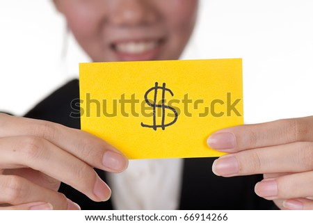 Money symbol on business card holding by Asian businesswoman.