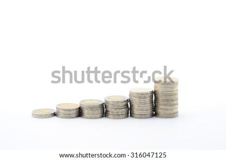 money, thai coins bath  - stock photo