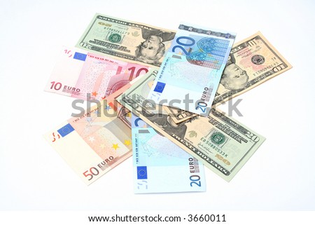 money the dollars scattered on a table and euro
